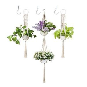 Other - 3 Pack Macrame Plant Hanger with Hooks, Cotton